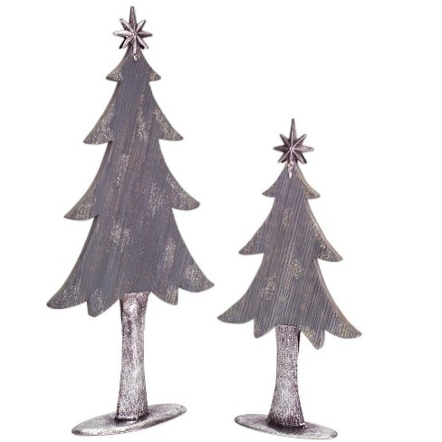 "Diva At Home Set of 2 Gray and Silver Colored Christmas Tree Tabletop Pieces 27"" - image 1 of 1"