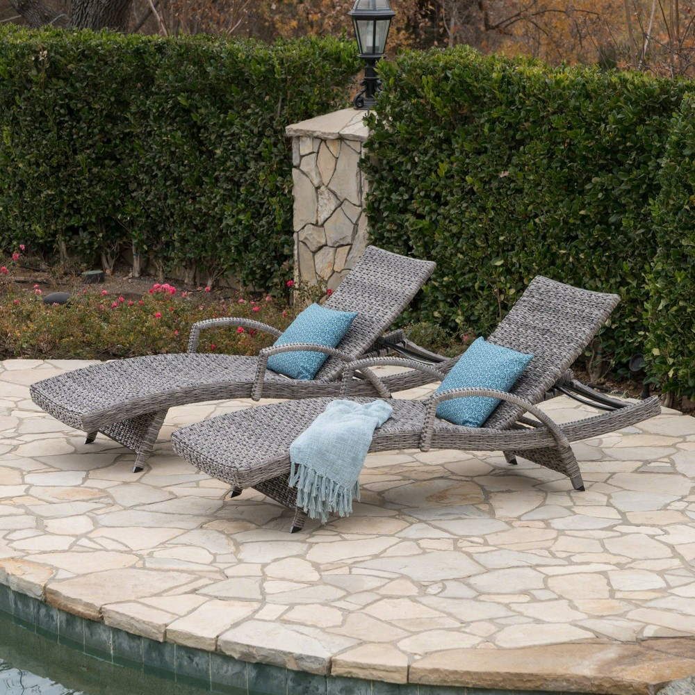 Crete 2pk Wicker Armed Chaise Lounge - Gray - Christopher Knight Home