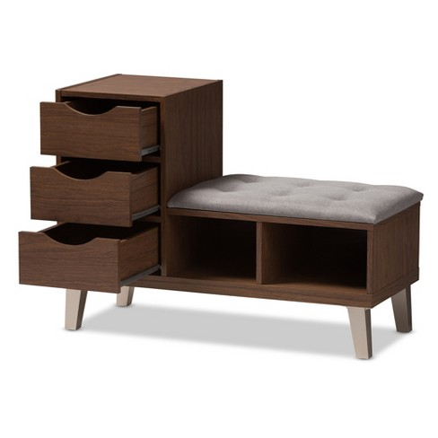 . Arielle Modern and Contemporary Walnut Wood 3 Drawer Shoe Storage Light  Gray  Brown   Baxton Studio