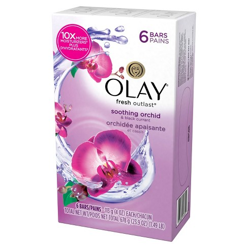 Olay Fresh Outlast Soothing Orchid & Black Currant 6-Bar Soap - 24oz - image 1 of 2