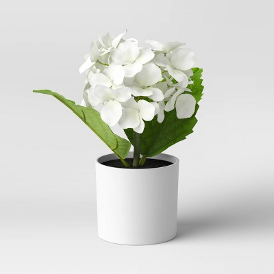 "9"" x 6"" Artificial Hydrangea Arrangement in Pot - Threshold™"