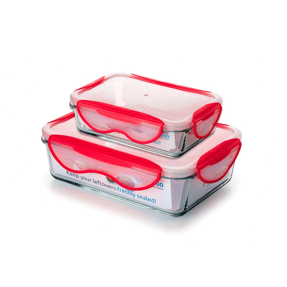 Image of ClipFresh 4pc Food Storage Container Red