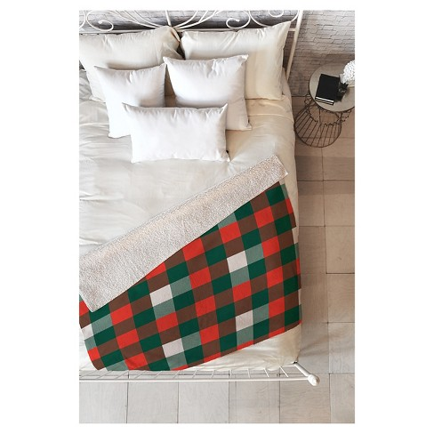 "Red Plaid Zoe Wodarz Christmas Plaid Sherpa Throw Blanket (50""X60"") - Deny Designs® - image 1 of 2"