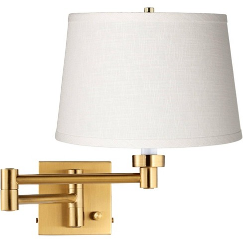 Barnes and Ivy Modern Swing Arm Wall Lamp Warm Antique Brass Plug-In Light Fixture White Linen Drum Shade Bedroom Bedside Reading - image 1 of 3