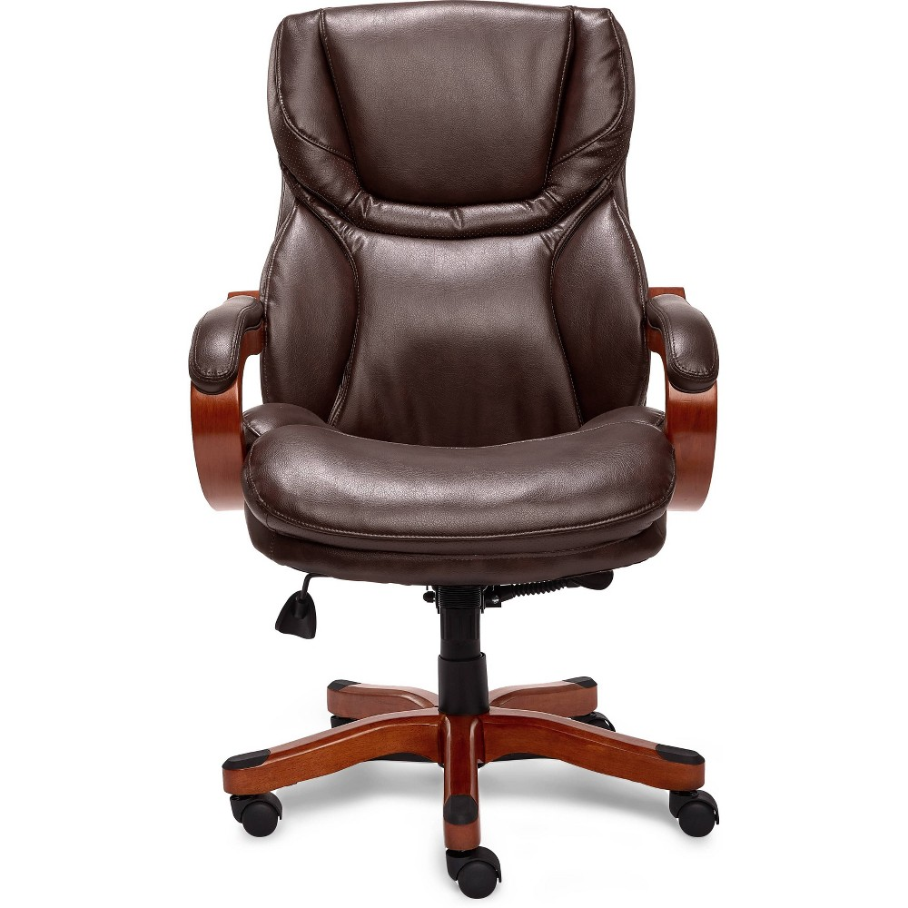 Office Chair with Upgraded Wood Accents Brown - Serta