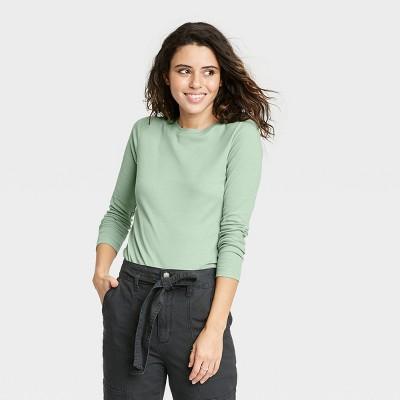 Women's Long Sleeve Slim Fit Rib T-Shirt - Universal Thread™