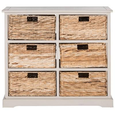 Bon Keenan Storage Chest With Wicker Baskets Vintage Gray   Safavieh®
