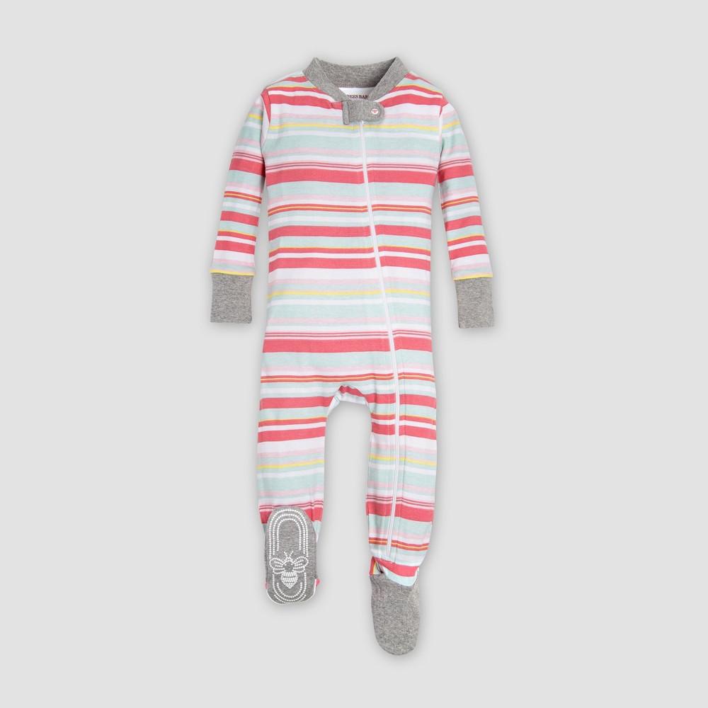 Burt's Bees Baby Organic Cotton Girls' Vintage Stripe Sleeper - Red 12M
