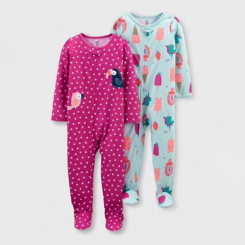 Toddler Girls' 2pk Footed Tie-Dye Bird Popsicle Pajama Jumpsuit - Just One You® made by carter's Purple/Blue - image 1 of 1