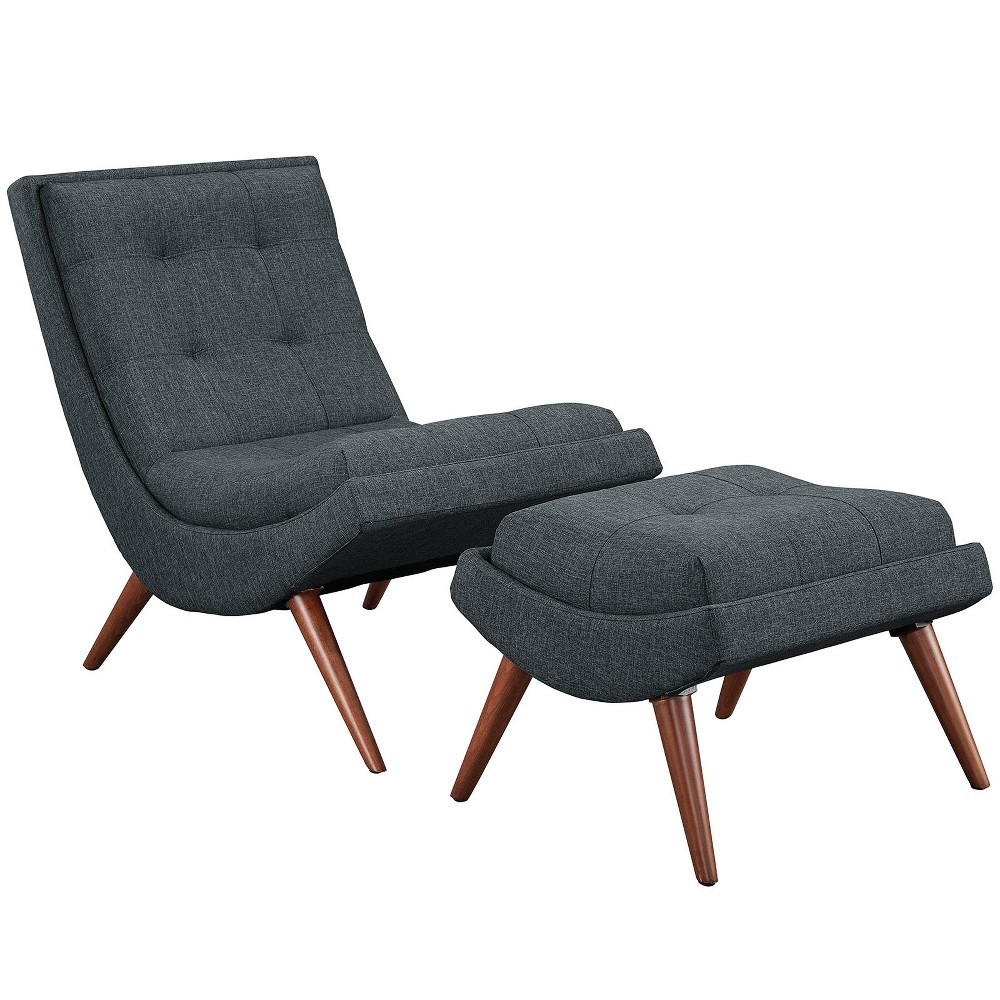 2pc Ramp Upholstered Fabric Lounge Chair Set Gray - Modway