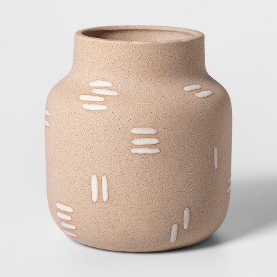 7.4  x 6.6  Earthenware Stitch Vase Brown - Project 62™