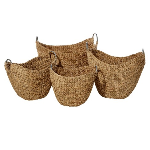 """Olivia & May 14""""x16""""x19x21"""" Set of 4 Dried Plant Wicker Baskets with Iron Handles - image 1 of 4"""