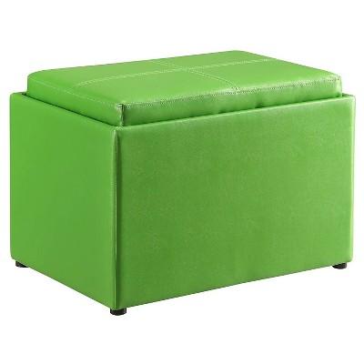 Storage Ottoman Green   Convenience Concepts