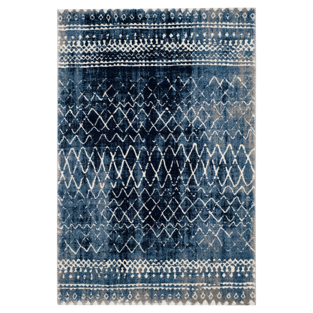 Light Blue/Cream Solid Loomed Area Rug - (6'7