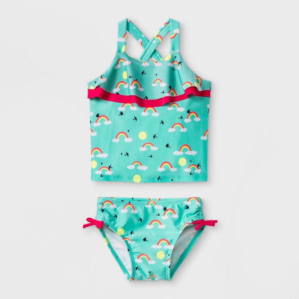 Toddler Girls' Rainbow Tankini Swimsuit - Cat & Jack Turquoise 5T, Blue