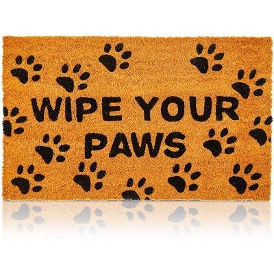 """Juvale Wipe Your Paws Coir Door Mat Welcome Doormat Indoor Outdoor Nonslip Front Rugs 17""""x30"""""""