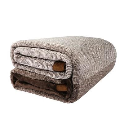 1 Pc Queen Microfiber Flannel Fleece Bed Blankets Brown  - PiccoCasa