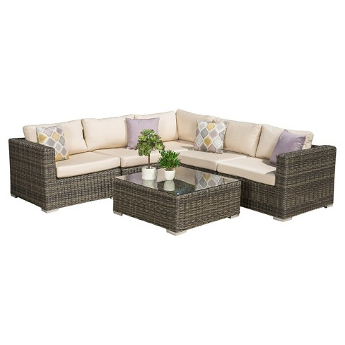 Santa Rosa 6pc Wicker Sectional Seating Set with Sunbrella Cushions - Cubu Gray - Christopher Knight Home - image 1 of 4