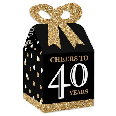 Big Dot of Happiness Adult 40th Birthday - Gold - Square Favor Gift Boxes - Birthday Party Bow Boxes - Set of 12