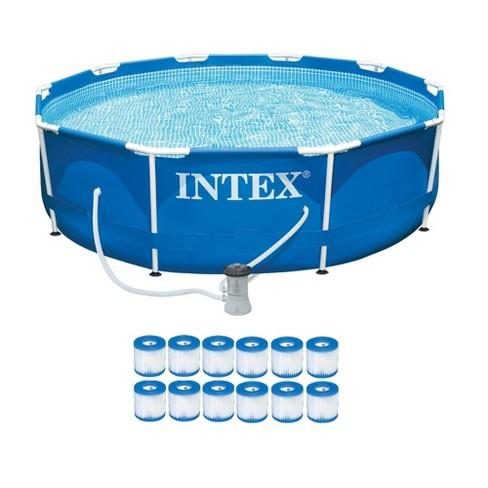 Intex Metal Frame Pool Set w/ Filter Pump and Type H Filter Cartridges (12 Pack) - image 1 of 4
