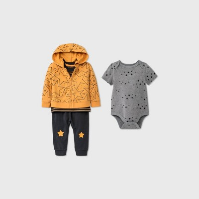 Baby Boys' Star 4pc Bundle Top & Bottom Set - Cat & Jack™ Gold 3-6M