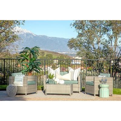 Alicia 4pc Outdoor Squared Wicker Sofa Set - Light Gray - Coaster