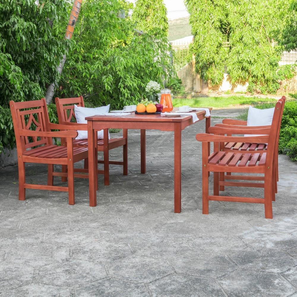 Malibu 5pc Rectangle Wood Outdoor Patio Dining Set - Tan - Vifah