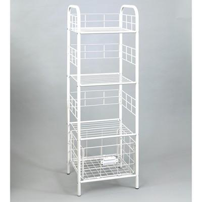 Lakeside 3-Tier Metal Storage Basket Shelf Rack for Home Storage