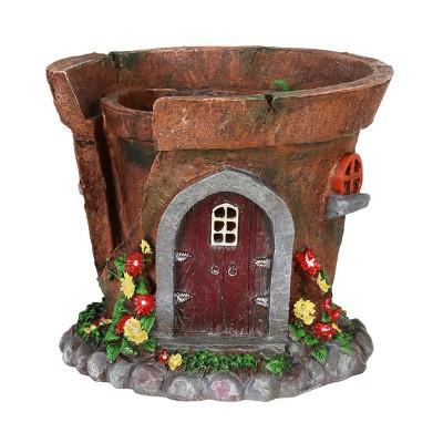 "7.48"" Resin Solar Fairy House Flower Pot - Exhart"