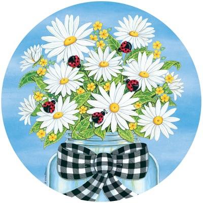 "Home & Garden 12.0"" Daisies Ladybugs Stepping Stone Mason Jar Gingham Custom Decor  -  Stepping Stones And Pathways"