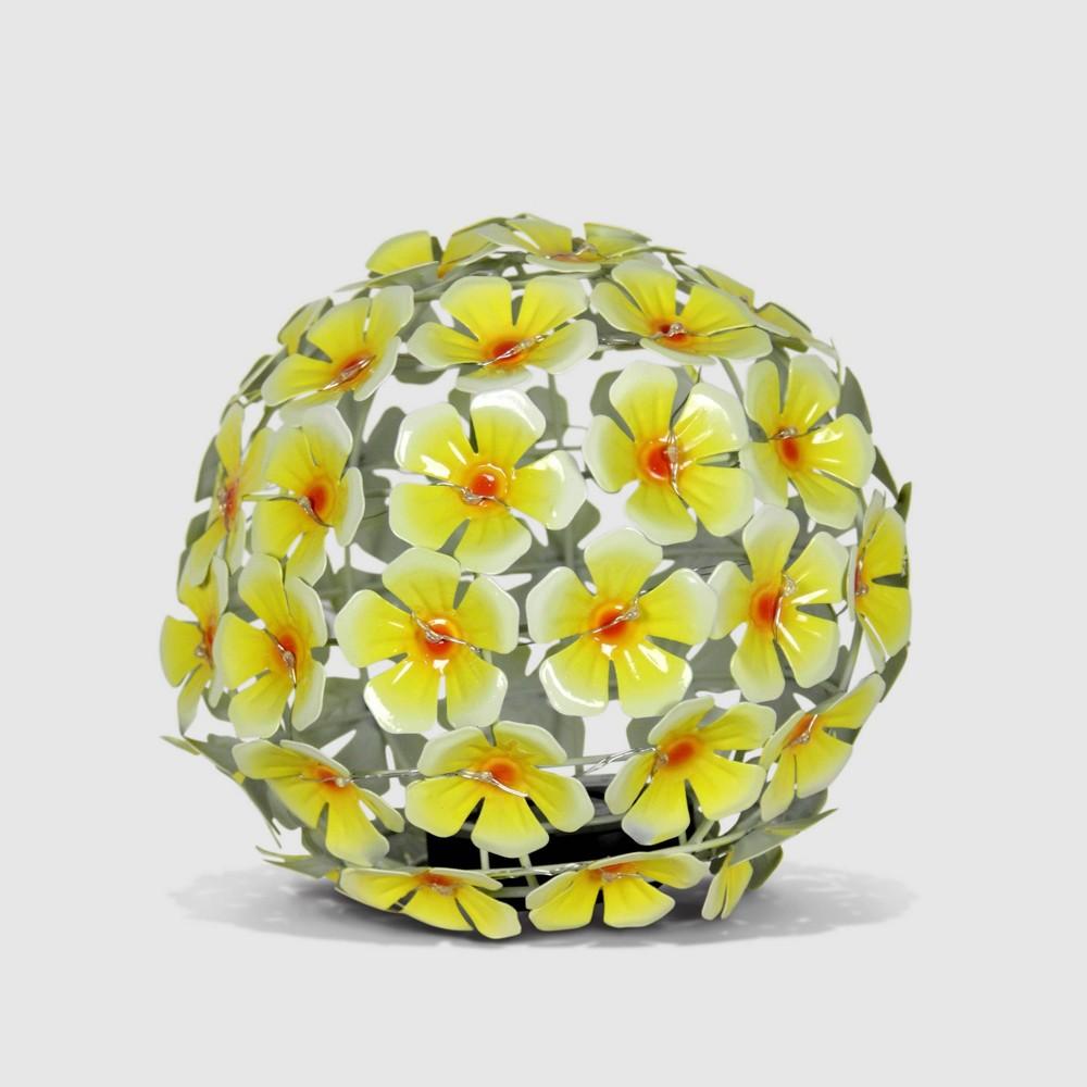 8 Resin Solar Metal Tabletop Hydrangea Ball Yellow - Exhart