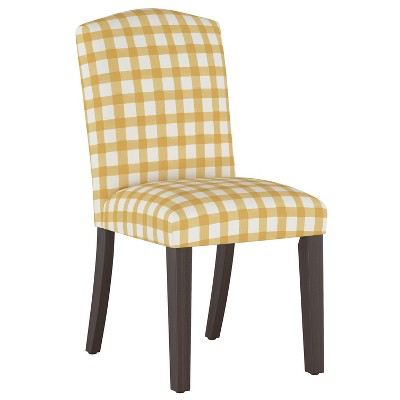Camel Back Dining Chair Buffalo Gingham Buttercup - Skyline Furniture