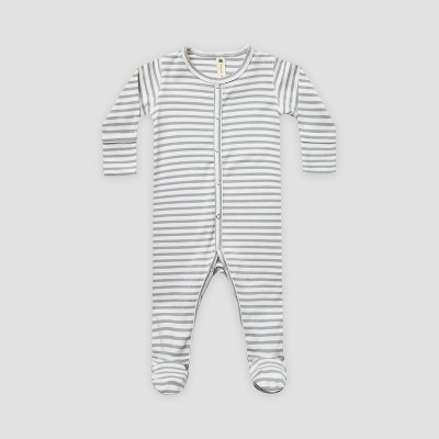 Q by Quincy Mae Baby Striped Brushed Jersey Footed Pajama with Handcuffs - Dark Blue/Off-White 3-6M