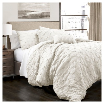 White Ravello Pintuck Comforter Set 5pc (King)- Lush Decor®