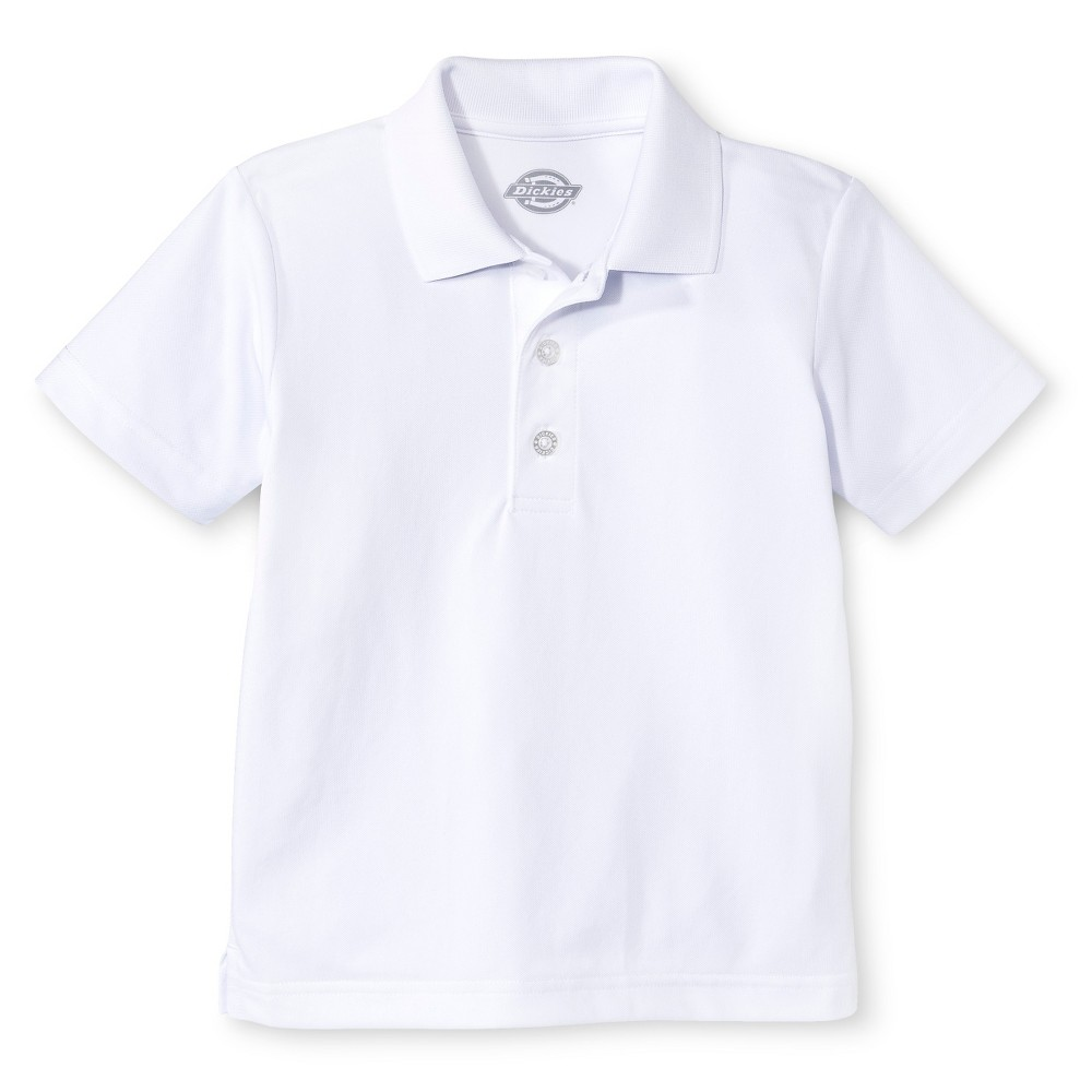 Dickies Little Boys' Performance Uniform Polo Shirt - White L