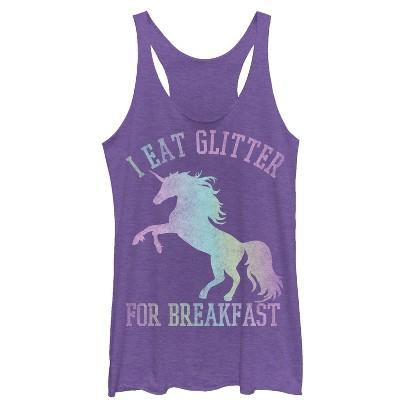 Women's Lost Gods Glitter Breakfast Unicorn Racerback Tank Top