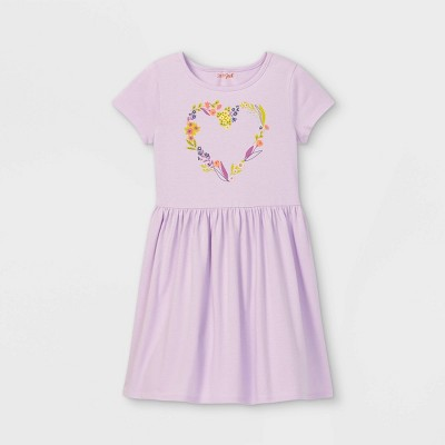Girls' Printed Knit Short Sleeve Dress - Cat & Jack™