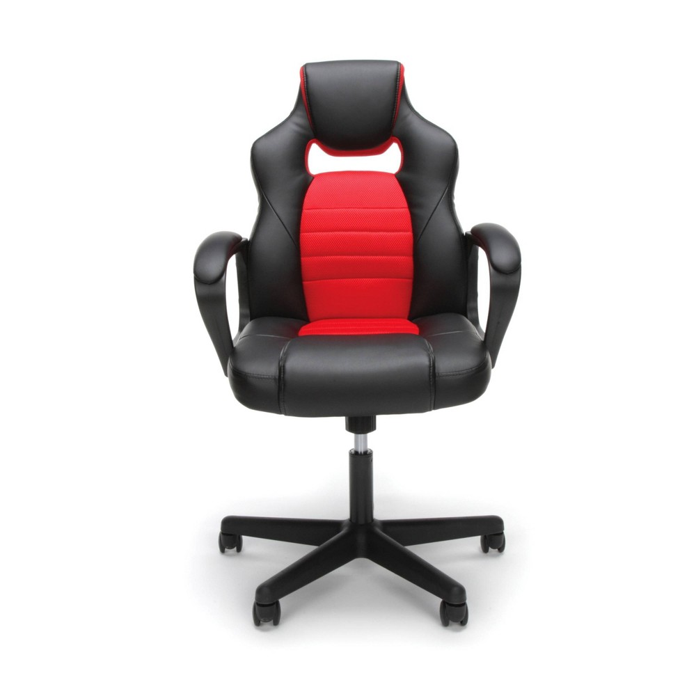 Racing Style Adjustable Leather/Mesh Gaming/Office Chair with Wheels Red - OFM