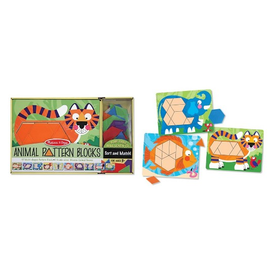 Melissa & Doug Animal Pattern Blocks Set With 5 Double-Sided Wooden Boards and 47 Multi-Shaped Blocks image number null