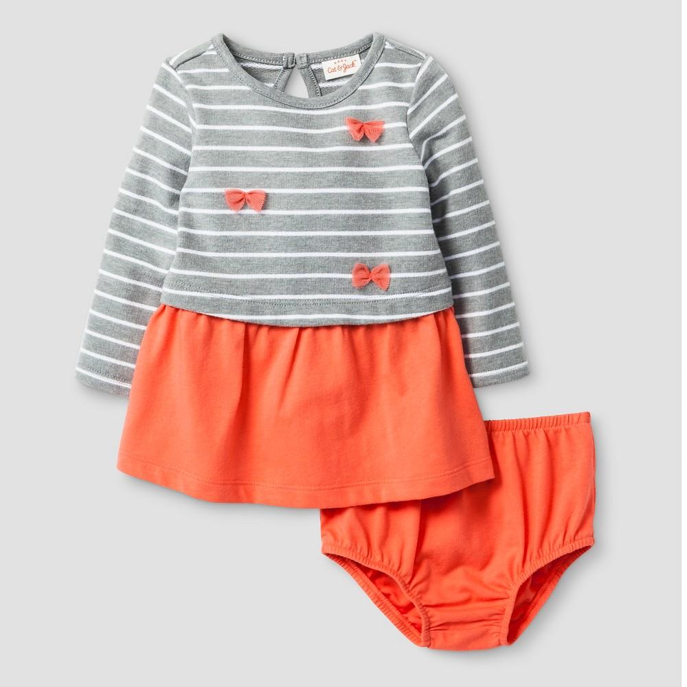 Baby Girls' Stripe Bow Dress - Cat & Jack Coral 6-9M, Hawaiian Coral