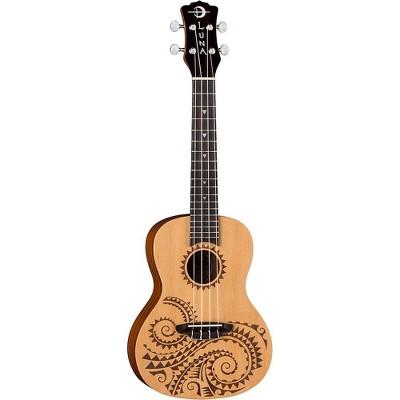 Luna Guitars Tattoo Spruce Concert Ukulele Satin Natural