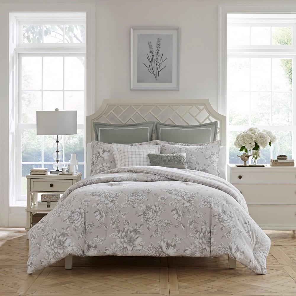 Image of 7pc Full/Queen Bridgette Comforter Set Gray - Laura Ashley