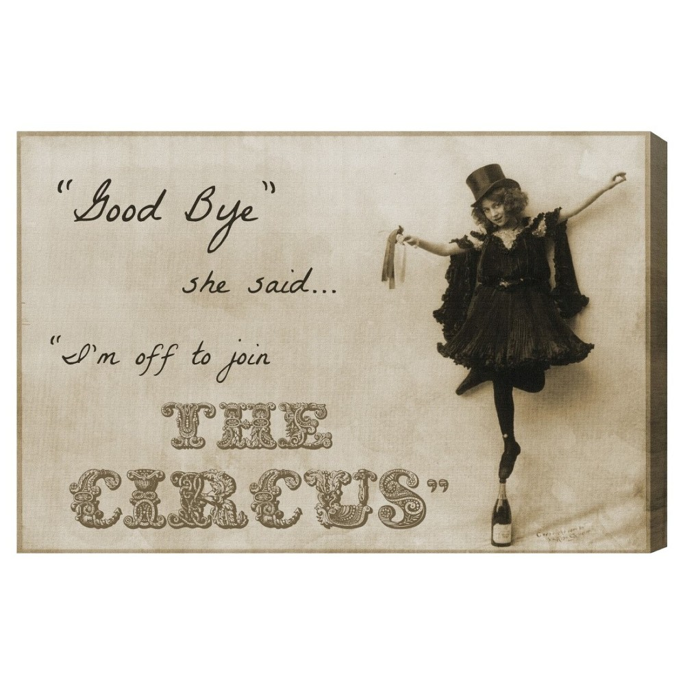 """Image of """"Oliver Gal Unframed Wall """"""""Join the Circus"""""""" Canvas Art (24x16), Brown Black"""""""