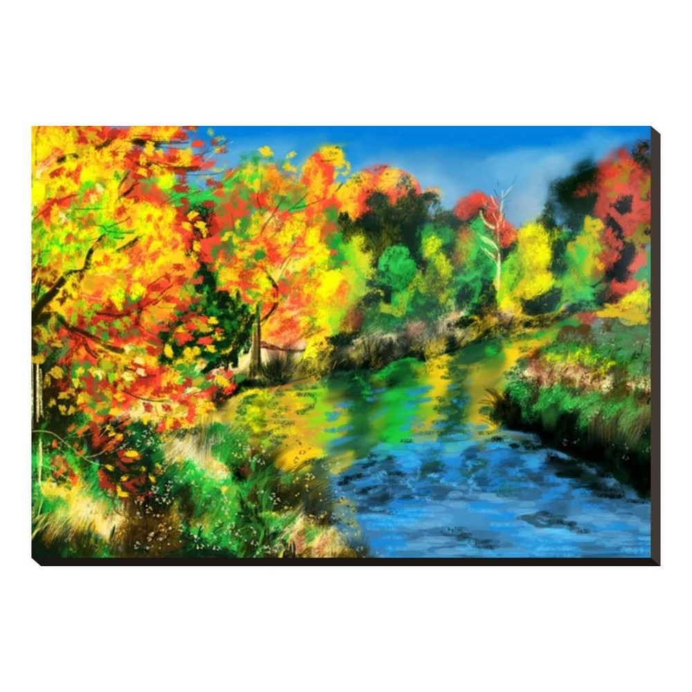 Hand Draw Autumn Forest By Jim Stretched Canvas Print 33x24 - Art.com, Multicolored