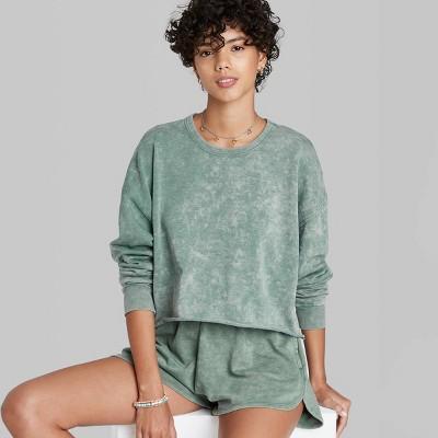 Women's Raw Hem Cropped Sweatshirt - Wild Fable™