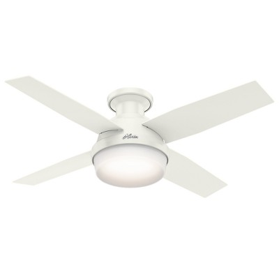 44  Dempsey Low Profile with Light Fresh White Ceiling Fan with Light with Handheld Remote - Hunter Fan