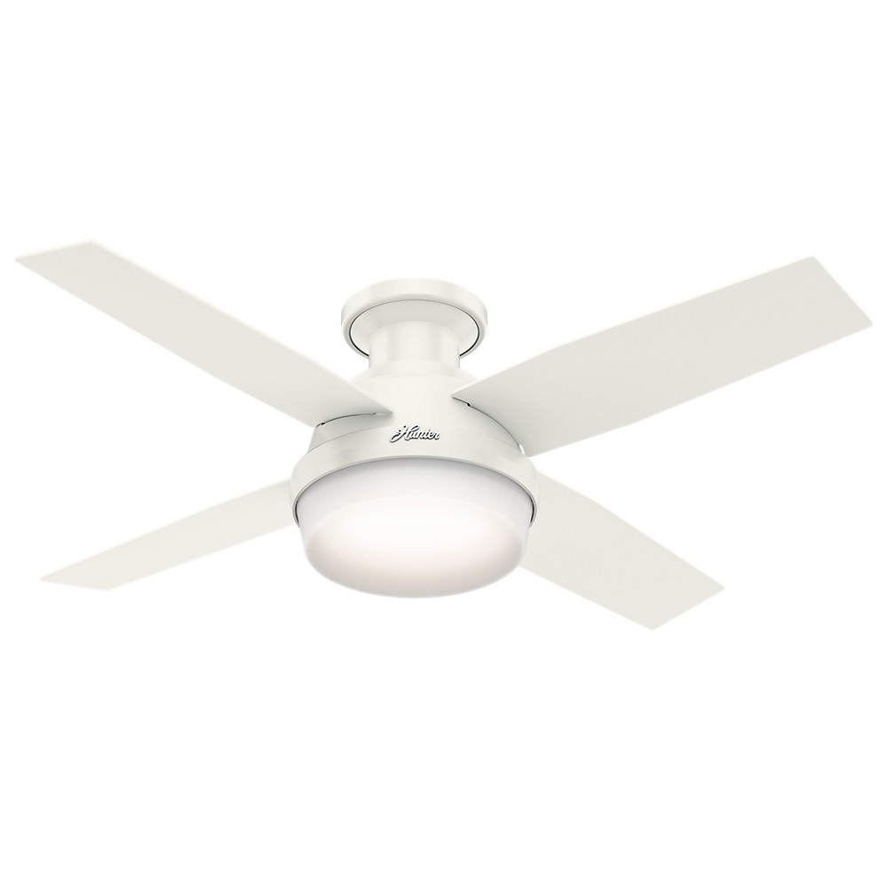 "Image of ""44"""" Dempsey Low Profile with Light Fresh White Ceiling Fan with Light with Handheld Remote - Hunter Fan"""