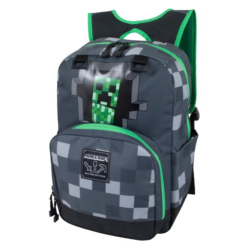 """Minecraft 17"""" Creeper Kids' Backpack - Grey - image 1 of 5"""