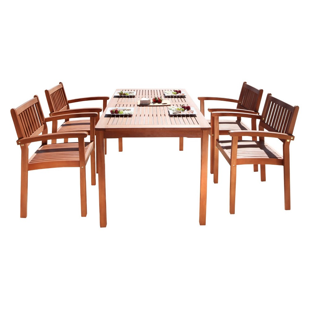 Malibu 5pc Rectangle Wood Patio Dining Set - Brown - Vifah