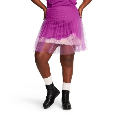 Women's Plus Size Mid Rise Lace Tulle Mini Skirt   Rodarte For Target Magenta by Rise Lace Tulle Mini Skirt